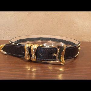 Dark brown Leather belt code azure